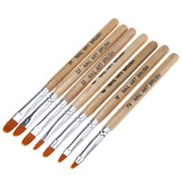 approx 14*1cm paint brush extensions - set Wooden UV Gel Polish Builder Extension Nail Art Brush Glitter Rhinestone Sequin D Manicure Design Draw Paint Pen Kit