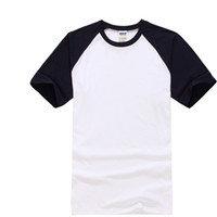Crew Neck blank black t shirt wholesale - 2017 Hot Quality Cotton Raglan Sleeve Men T Shirt Fashion Blank T shirt for Men Solid Pure Color Ringer Tops Tees