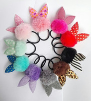 Wholesale Hair Accessories Combs Bands - Hairband for kid fluffy ball with bunny ears headband bands hair tie Children hair accessories ponytail holder hair rope elastic