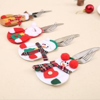 Wholesale Objects Decorations - Christmas decoration Santa Claus Christmas meal knife fork spoon set cover Christmas ornaments decorative objects hotel restaurant