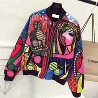 Wholesale baseball jackets women - Wholesale- queen embroidery bomber jacket women Harajuku pilot jacket coat 2017 casual printing basic baseball jackets