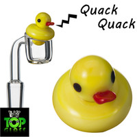 Wholesale Wholesale Ducks - Solid Colored Glass Yellow Duck UFO Carb Cap dome for glass bongs water pipes, dab oil rigs, 4MM Thermal P Quartz banger Nails
