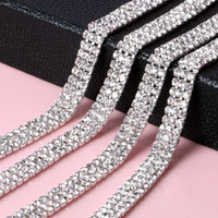 Wholesale Garment Jewelry - Wholesale 2mm 3mm 3 Rows Rhinestone Chain Trimming Sew On Silver Gold Base Density Crystal Cup Chain For DIY Garment Jewelry