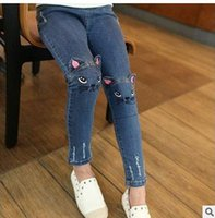 Wholesale Wholesale Cowboy Jeans - Girls Denim pants Fashion kids cats embroidery jeans children Hole cowboy pockets front back Pencil pants 2017 new girls casual pants G0620