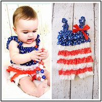 Wholesale Girl Lace Sweater - Baby Rompers Independence Day Lace Satin Summer Baby Jumpsuits One-piece Garment Stars Stripes Sleeveless Sweater 0-3T
