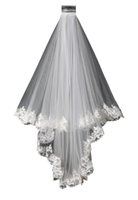 Wholesale Ivory Veil Elbow Length Vintage - High Quality Vintage White Ivory Short Tulle Wedding Bridal Veil Elbow Length Two Layer Lace Appliques Cheap
