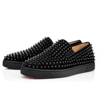 Wholesale Roller Flats - Original Box Spikes Roller-Boat Men's Walking Flat Pik Sneakers Red Bottom Oxfords Slip On Casual Leisure Flats Party Dress
