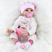 Wholesale Real Plastic Dolls - 55cm real doll Handmade Soft cloth body Silicone Reborn Baby Soft Newborn Bath Toy Reborn Baby Doll Girl Silicone Realistic Doll