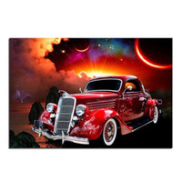 Wholesale Red Wall Art - Retro Red Car 100% Full Drill DIY Diamond Painting Embroidery 5D Cross Stitch Crystal Home Bedroom Wall Decoration Decor Craft Gift