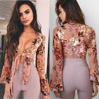 Wholesale Deep V Knot - Sexy Deep V Neck Bow Knot Short Shirts Print Floral Blouse Crop Tops Women Flare Long Sleeve Casual Slim Summer Beach Bohemian