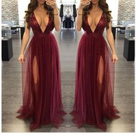 Wholesale Images Dance - Burgundy Squins Tulle Deep V Neck Floor Length Criss Cross Straps Sexy Open Back Home coming Dance Evening Dresses Prom Dresses
