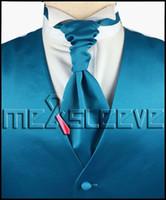 Wholesale Turquoise S Dress - Wholesale- hot sale free shipping plain turquoise dresses(vest+ascot tie+cufflinks+handkerchief)