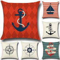 Wholesale Retro Ocean Sea Cotton Linen Pillow Case Sofa Car Throw Cushion Cover Home Decor