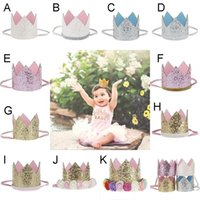 Купить Новые Пароли-Baby Girls Sequins Crown Rose Flower Headbands Kids Glitter Gold Tiaras Headband Children Adult Accessory Cake Birthday Hat Gift WX-H03
