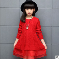 Wholesale Children S Jumpers - Girls Sweaters 2017 New Autumn Children's Clothing Fashion Children Coat Child Leisure O-neck Ruffles Sweaters Size120-160 ly466