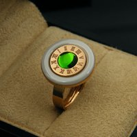 Wholesale Insert Ceramic - Luxury white ceramic insert Pink Green Opal round steel ring Gold plated ring Rome digital jewelry