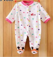 Wholesale Baby Boy Coverall Rompers - 0-12M Autumn Fleece Baby Rompers Cute Pink Baby Girl Boy Clothing Infant Baby Girls Clothes Jumpsuits Footed Coverall