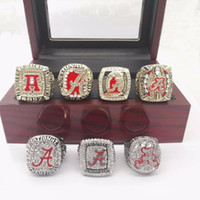 Wholesale Rings Tide - 7 pcs Set 1992 2009 2011 2012 2015 2015 Alabama Crimson Tide National Championship Rings With Wooden Box