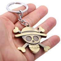 Wholesale One Piece Key Ring - One Piece MONKEY D LUFFY New Metal Keychain Fashion Woman Car Key Ring Man Gift