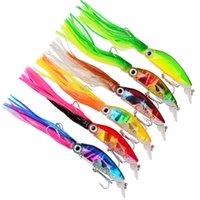 Wholesale Plastic Squid Lures - 6-color 10cm 18g Squid Hard Plastic Lures Fishing Hooks Fishhooks 3D Eyes Fishing Lure 1 0# Hook Artificial Bait Pesca Tackle Accessories