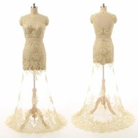 Wholesale Hot Sale New Sexy - Two Pieces Lace Long Prom Dresses Illusion Real Picture Backless Floor-Length Sheer High Neck Beaded New Hot Sale Party Simple Evening Gowns