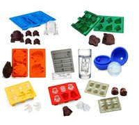 Wholesale Silicone Ice Cube Trays Wholesale - Death Star Wars 8pcs silcone ice mold Darth Vader Storm Trooper Falcon X-Wing Hans Solo Silicone Mold Ice Cube Tray KKA1427