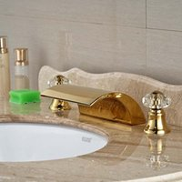 Wholesale Crystal Gold Bathroom Taps - Wholesale- Gold Finish Deck Mounted Golden Brass Waterfall Bathroom Faucet Crystal Handles Tap Hot And Cold Mixer