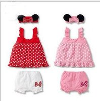 Wholesale Skirt Band Baby - Baby summer clothes baby cartoon harness princess skirt + shorts + hair band suit G147