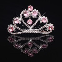 Wholesale Tiaras For Birthday Parties - Girls Tiaras Crowns With Rhinestones Jewelry Tiaras For Birthday Party Performance Pageant Crystal Wedding Hair Accessories #BW-T018