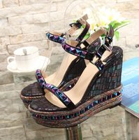 Wholesale Sexy Lady Platform Dress Shoes - Sexy Lady Shoes 2017 New Summer Shoes Genuine Leather Rivets High Heel Wedge Sandals Fashion Woman's Platform Shoes ML2810-2