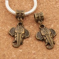 Elephant Head Alloy Charm Big Hole Beads 100pcs / lot 16.5x34 mm Antique Bronze Dangle Fit European Bracelets B1399