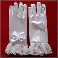 Wholesale Wholesale White Short Satin Gloves - 2016 5 pcs Short Flower Girl Fingerless Gloves Satin Bow Lace Children White Winter Kids Wedding Gloves Cheap In Stock Free Shipping