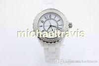 Wholesale Diamond Womens Watches - NEW LUXURY 38mm big watches Top quality wrist quartz movement womens white ceramic watch diamond bezel fashion ladies watch free shipping.