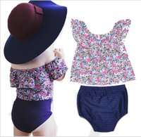 Wholesale Childrens Flower Tops - Babies Floral Summer Outfits 2017 Kids Girls Flower Jumper Tops with Cotton PP pants Childrens Fashion sets