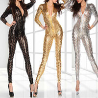 Wholesale Latex Body Suits Women - Wholesale- Black Leather Sexy Body Suits for Women PVC Erotic Leotard Costumes Latex Bodysuit Catsuit Women Wet Look Jumpsuits & Rompers