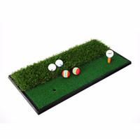 Wholesale rubber golf mat - Wholesale- CRESTGOLF 33*63cm Backyard Exercise Golf Mat Training Hitting Mat Pad Green Grass Indoor Practice Mat With Rubber Tee Holder