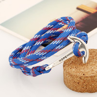 Wholesale Dance Bracelet Charms - Hand Woven Nylon Rope Alloy Sailing Naval Style Bracelet With Anchor Pendant Charm Bracelets Couples Lovers Gifts Hip-hop Dance Present