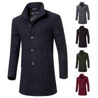 Wholesale Good Winter Coats - Wholesale- fashion 2016 winter long trench coat men brand good quality 5 colors single breasted slim fit mens overcoats luxury