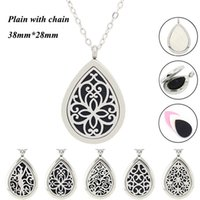 Wholesale diamond shape necklace - Panpan jewelry! wholesale drop shape perfume locket 316L stainless steel diffuser locket necklace aromatherapy locket necklace