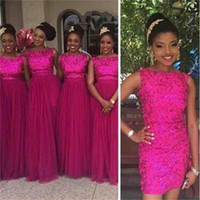 Wholesale Tulle Skirt Long Bridesmaid - Rose Red Sequin Formal Bridesmaid Dresses 2017 With Removable Skirt Long Tulle Wedding Party Guest Dresses Nigerian African Style Plus