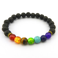 Wholesale Gem Beaded Bracelet - Natural Agate Lava Rock Stone 8mm Colorful Energy Chakra Beads Reiki Buddha Strands Bracelet Natural Gem Stone Mala Bracelet
