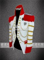 Wholesale Bound Breast - Wholesale- white golden binding vintage medieval tuxedo jacket red and golden decoration  event stage performance this is only jacket