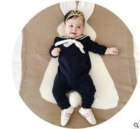 Wholesale Stripes Navy Romper - Babies romper navy style Newborn stripe long sleeve romper autumn toddler clothing baby girls kids bows lapel jumpsuits fit 0-2T T0235