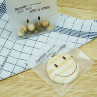 14 * 14cm + 3cm Lovely Frosted Smiley Face Cookie Bag Plastic Self-adhesive Pouch Biscuits Candy Sample Gift Embalagem Sacos LZ0601