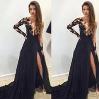 Wholesale Sexy Black Halter Transparent - Black Split Prom Dresses Sheer Bodice Lace Appliques Long Transparent Sleeve Elegant Chiffon Arabic Evening Dresses For Women
