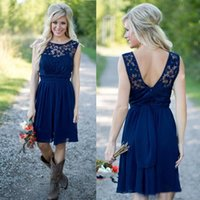 Wholesale Sexy Peplum Bridesmaid Dress - Hot Sell Blue Bridesmaid Dresses 2017 Sexy Sheer Lace Jewel Neck A Line Backless Chiffon Beach Country Style Bridesmaids Dress Knee Length