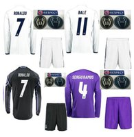 Wholesale Slim Short Free Shipping - Camisetas de futbol real madrid 2016 17 long sleeve shirts shorts with Champions League patches jerseys 2017 free shipping