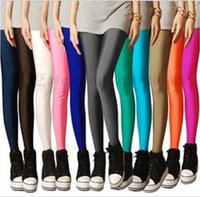 Wholesale Shiny Pants Women Tight - Women Fluorescent Leggings Candy Color Pants Shiny Bright Tights Stretch Elastic Leggings Yoga Sports Pencil Pants Casual Trousers B1958