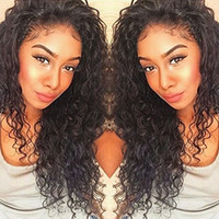 Wholesale Medium Human Hair Lace Wigs - 360 Lace Frontal Wigs 130% Density Full Lace Human Hair Wigs For Black Women Brazilian Virgin Deep Curly Wave Lace Front Wigs