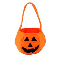 Wholesale Wholesale Fun Candy - Wholesale-Cute Kids Baby Smile Pumpkin Candy Bag Novelty Fun Toys for Children Halloween Festival Trick or Treat Party Decoration Gifts